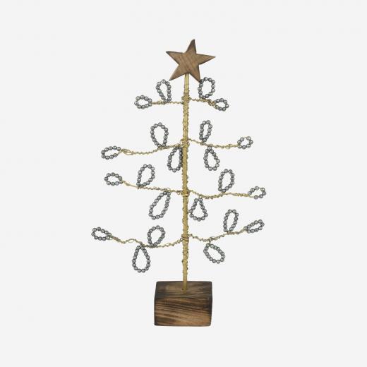 Juletræ med perleblade S grey