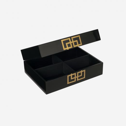 Lakskrin med metal deco B black-01