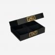 Lakskrin med metal deco B black