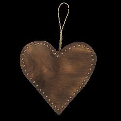 Træhjerte med perler, B bronze